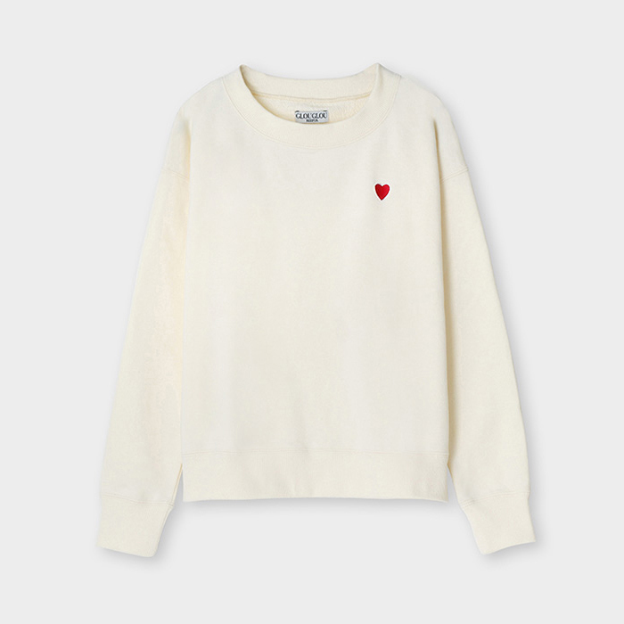 메종드리퍼 그루그루티셔츠 GLOUGLOU Back Print Heart Embroidery Sweat EOP5700